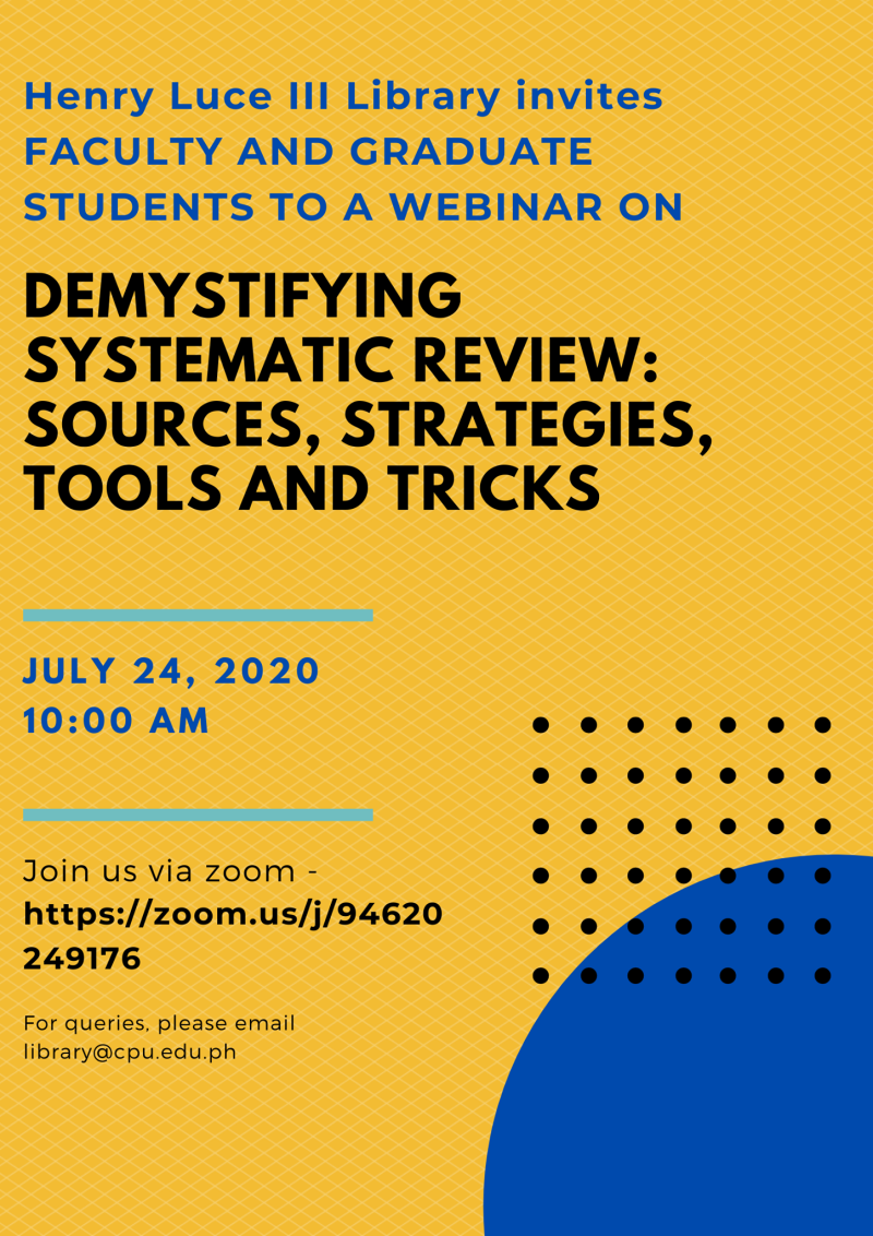 Webinar: Demystifying Systematic Review